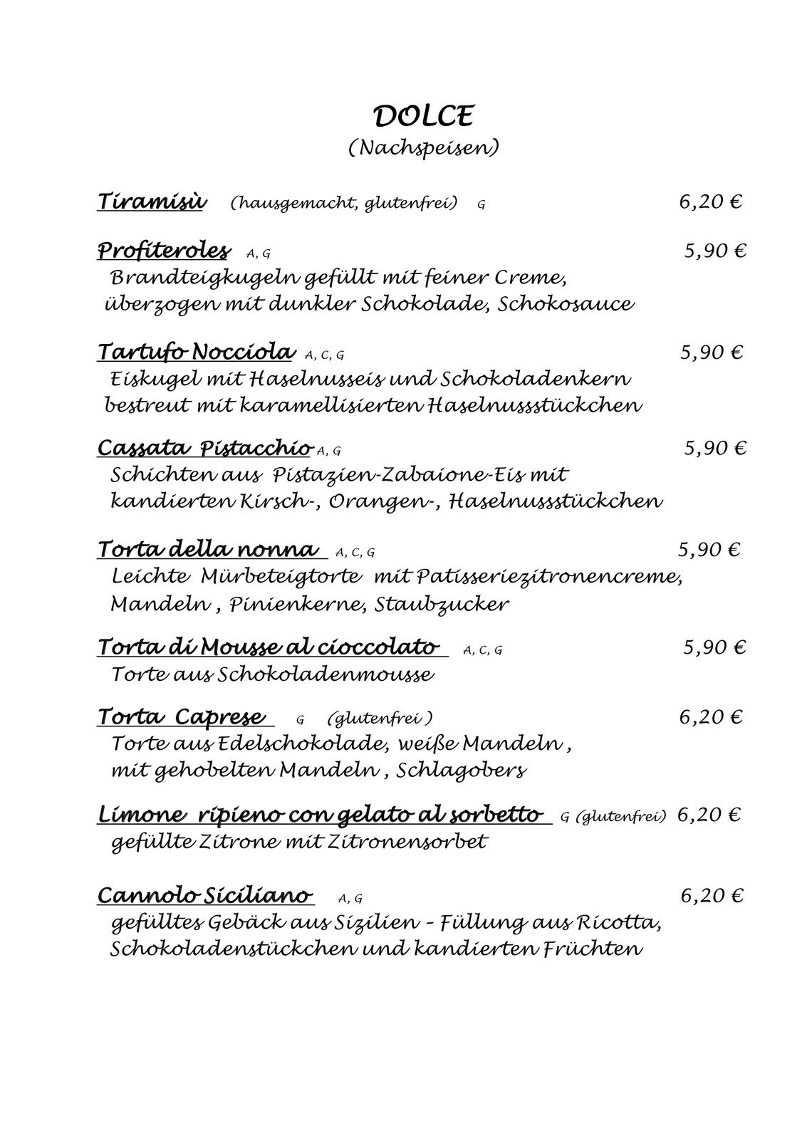 Speisekarte   Scarabocchio