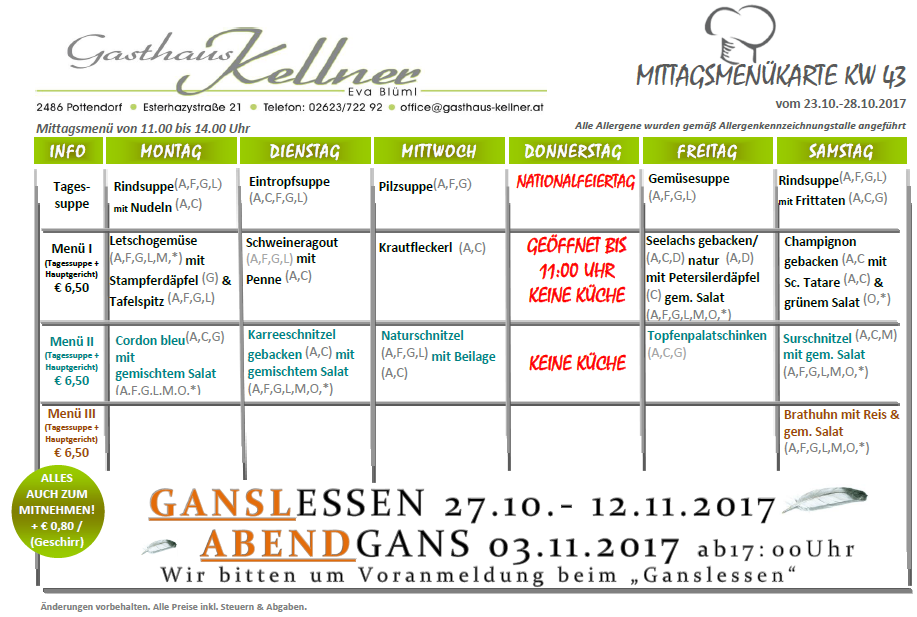 Wochenmen gasthaus kellner eva bl ml for 902 10 23 43