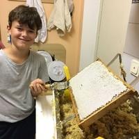 Sebastian beim Honigschleudern