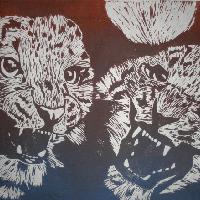 Linoleum Schneeleopard