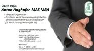 Akad. Vkfm. Anton Haghofer MAS MBA, VERSFINANZ-Versicherungsmakler und gerichtlich beeideter Sachverständiger für Versicherungswesen in Freistadt.