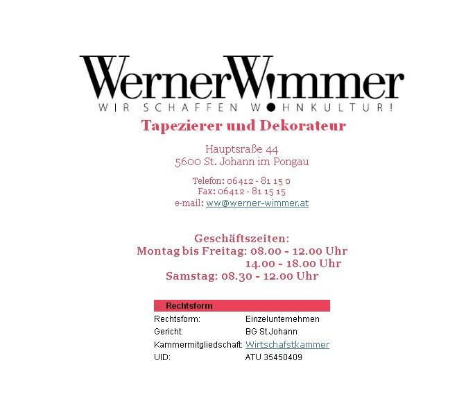 Start werner wimmer tapezierer und dekorateur for Tapezierer und dekorateur