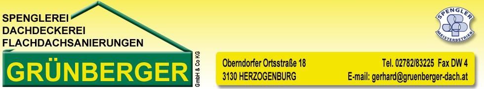 Spenglerei Dachdeckerei GRÜNBERGER Banner