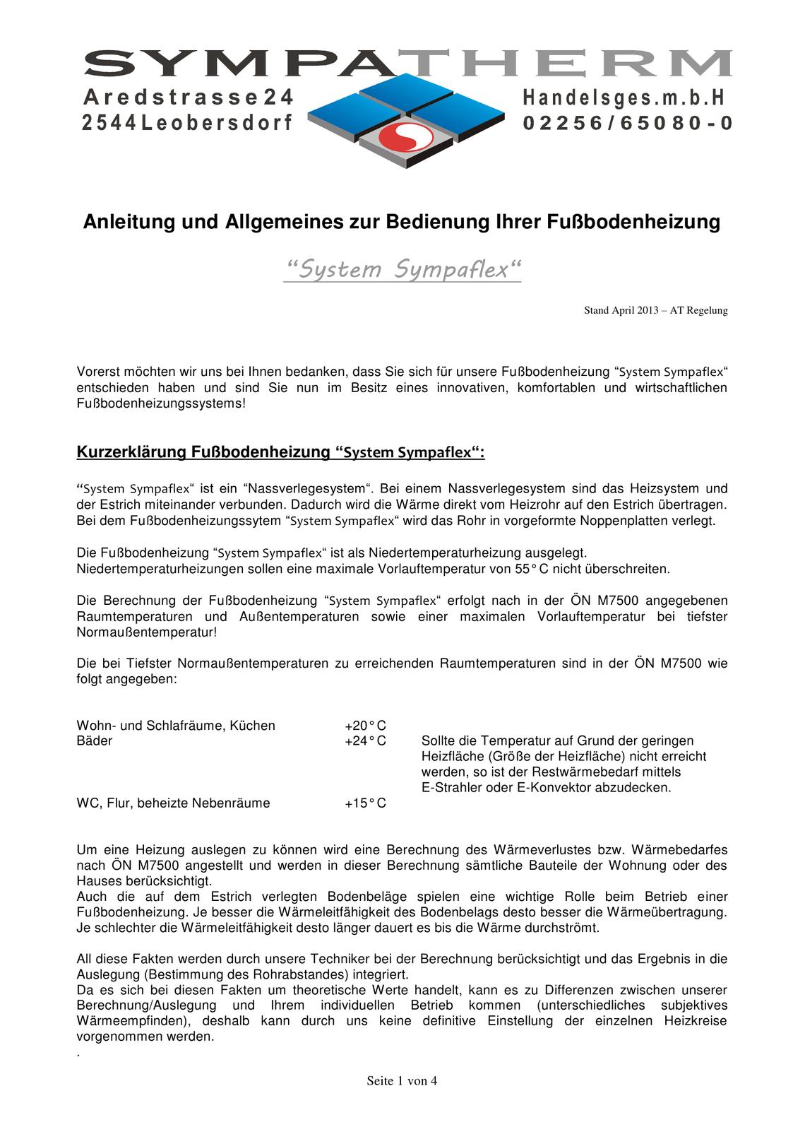 Fussbodenheizung Sympaflex ATR