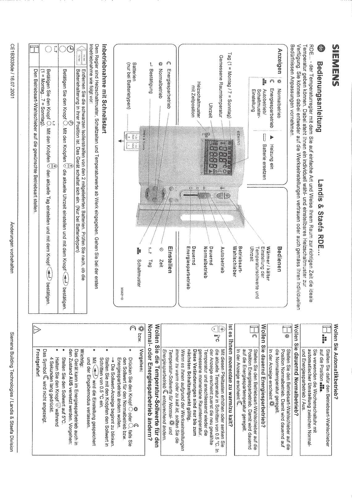Raumthermostat Siemens rde