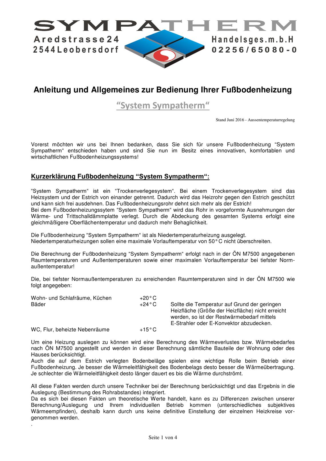 Fussbodenheizung Sympatherm ATR