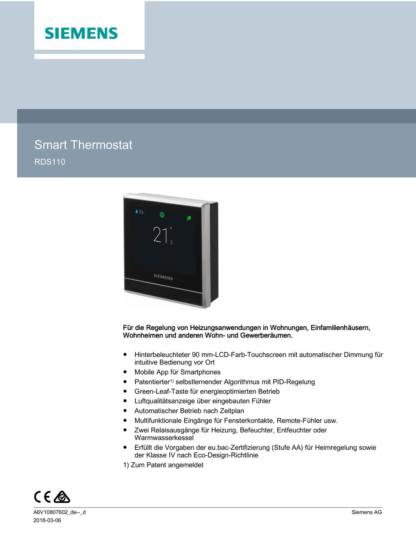 Raumthermostat Siemens RDS 110