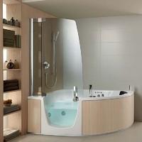 Acryl Wanne mit integrierter Dusche Teuco Eckmodell Eichenholz Verkleidung