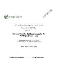 Zertifikat Österreichische Gebärdensprache für AnfängerInnen - A1