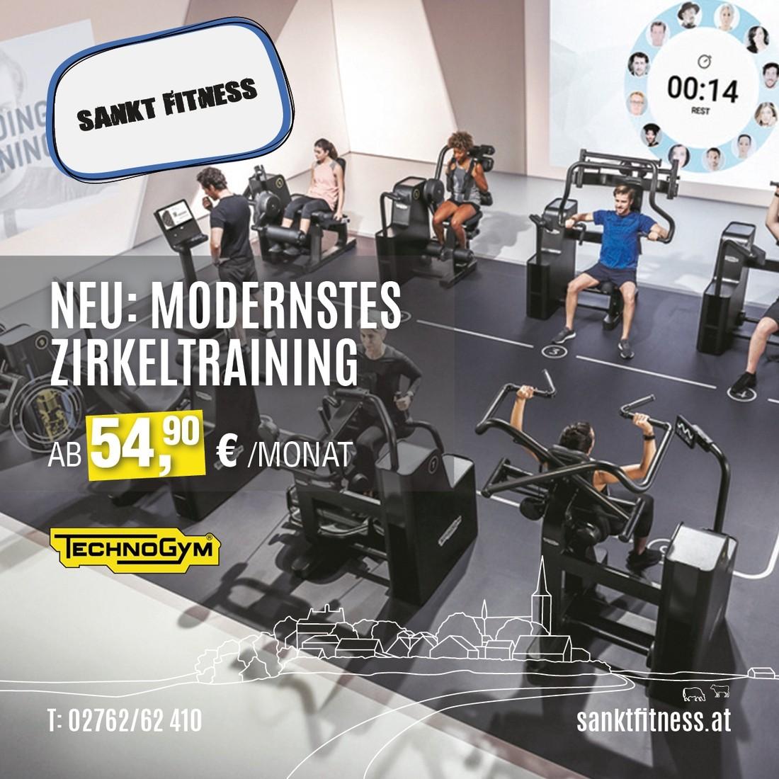 Neu: Modernstes Zirkeltraining. Ab 54,90 €/Monat. (TechnoGym)