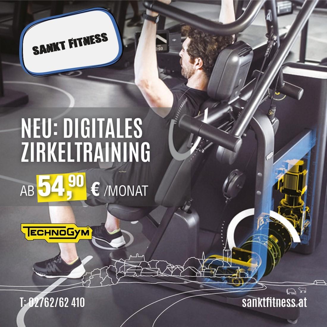 Neu: Digitales Zirkeltraining. Ab 54,90 €/Monat. (TechnoGym)