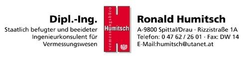 Vermessungsbüro Dipl.-Ing. Ronald Humitsch Staatl. bef. u. beeid. Ingenieurkonsulent für Vermessungswesen