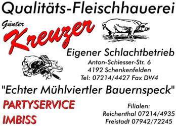 Fleischerei KREUZER, Qualitäts-Fleischhauerei, eigener Schlachtbetrieb, echter Mühlviertler Bauernspeck.