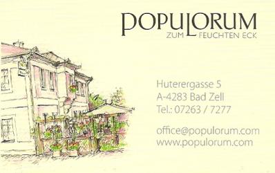 """POPULORUM """"Zum Feuchten Eck"""", Gasthaus, Versicherung, Taxi und Mietwagen, Taxi mit Fahrradanhänger in Bad Zell im Bezirk Freistadt."""