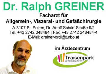 Dr. Ralph GREINER, Facharzt für Allgemein-, Viszeral- und Gefäßchirurgie in St. Pölten im Ärztezentrum Traisenpark.