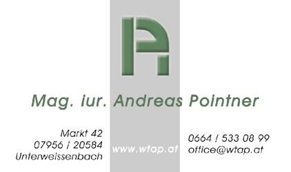 Mag. iur. Andreas POINTNER, Wirtschaftstreuhänder und Steuerberater in Unterweißenbach und Schwertberg.