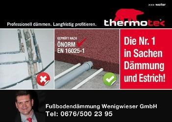 Fußbodendämmung Wenigwieser, thermotec®-Partner und Estrich in Bad Zell im Bezirk Freistadt.