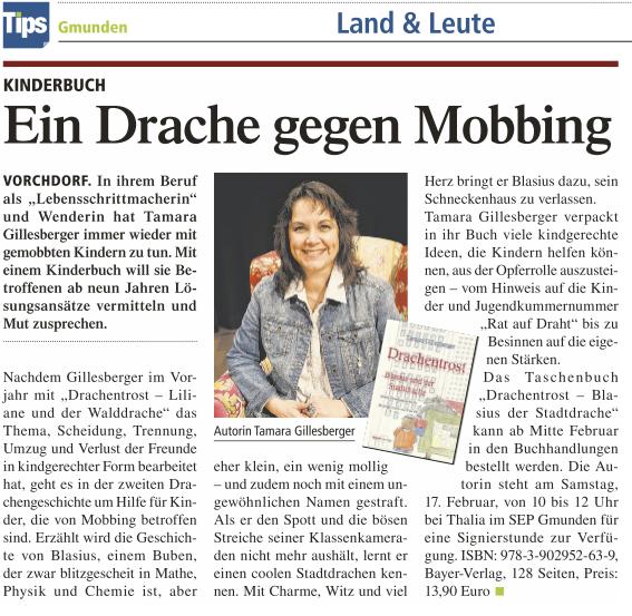 """Bayer Verlag mit Tamara Gillesberger und ihrem Buch  """"Drachentrost"""" in der Gmundner Tips:"""