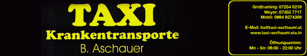 Taxi Krankentransporte B. Aschauer Banner