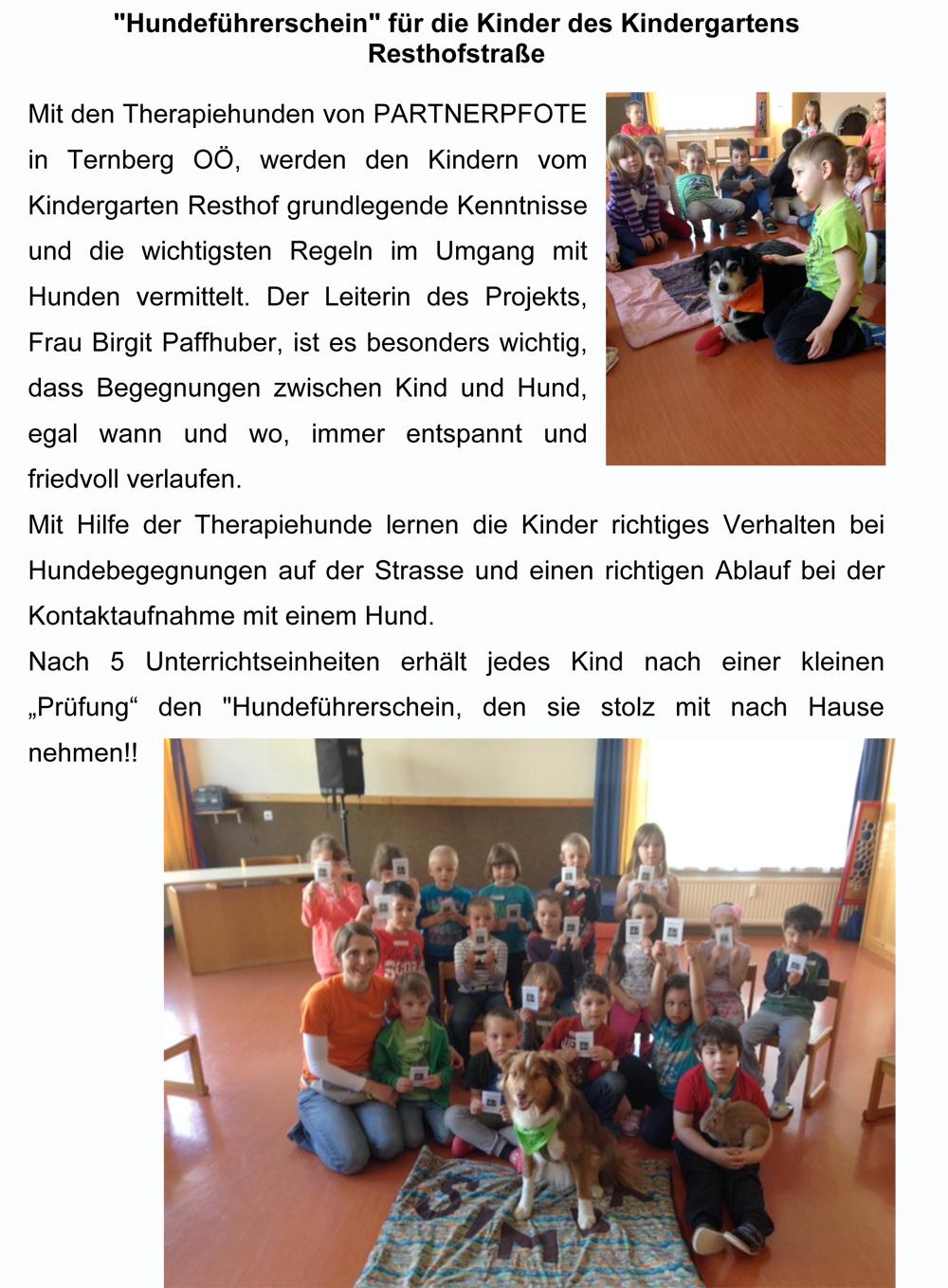 Hundeführerschein für Kindergarten Resthof Kopie