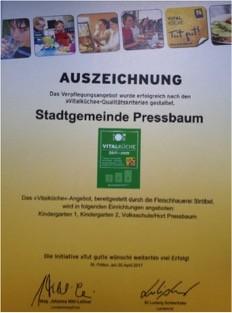 Auszeichnung Gem Pressbaum Vitalkueche