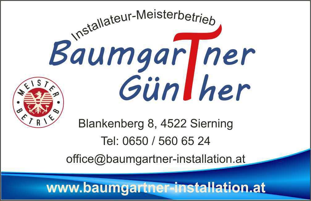 Baumgartner Intallateur Visitenkarte